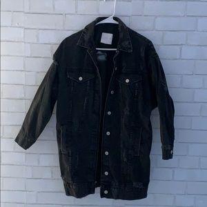 Zara oversized black denim jacket